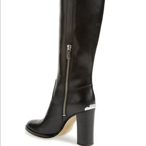 Michael Kors black leather Shaw boots size 8 M